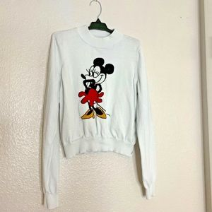 Forever 21 Minnie Mouse White Long Sleeve Sweater